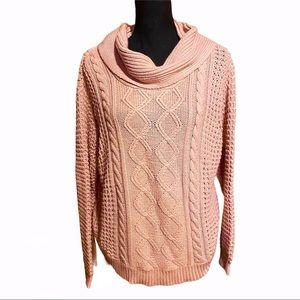 RD Style Cowl Blush Pink Cable Knit Sweater XL